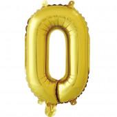 Шар с клапаном (16''/41 см) Мини-буква, О, Золото, в упаковке 1 шт.