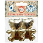 Декоративное украшение Фигура, Медвежонок, Золото, Металлик, 4,7*5,7 см, 2 шт.