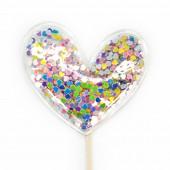 Топпер в торт, Сердце с блестками, Разноцветный, 1 шт.