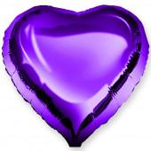 Шар (18''/46 см) Сердце, Фиолетовый, 1 шт.