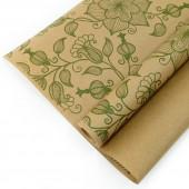 Упаковочная бумага, Крафт 70гр (0,7*10 м) Экошик, Вьюнок полевой, Зеленый, 1 шт.