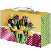 Пакет-коробка подарочный, Тюльпаны, Металлик, 15*11*9 см, 1 шт.