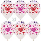 Шар (12''/30 см) Разноцветные сердца, Прозрачный (390), кристалл, 5 ст, 12 шт.