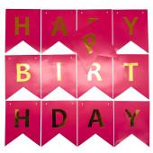 Гирлянда Флажки, Happy Birthday, Фуше, 200 см, 1 шт.