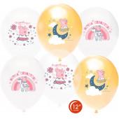 Шар (12''/30 см) Свинка Пеппа, Принцесса-Волшебница, Ассорти, пастель, 1 ст, 25 шт.