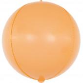 Шар (24''/61 см) Сфера 3D, Макарунс, Оранжевый, 1 шт.