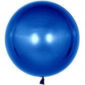 Шар с клапаном (18''/46 см) Сфера 3D, Deco Bubble, Синий, Хром, 10 шт.