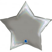 Шар (36''/91 см) Звезда, Платиновое серебро, Голография, 1 шт.