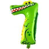 Шар с клапаном (16''/41 см) Мини-цифра, 7 Крокодил, 1 шт.