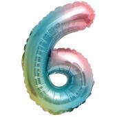 Шар с клапаном (16''/41 см) Мини-цифра, 6, Нежная радуга, Градиент, 1 шт.