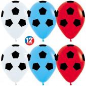 Шар (12''/30 см) Футбольный мяч - флаг России, Ассорти, пастель, 5 ст, 12 шт.