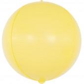 Шар (24''/61 см) Сфера 3D, Макарунс, Желтый, 1 шт.