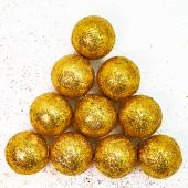 Фигура из пенопласта Шар, Золото, Металлик, 3 см, с блестками, 10 шт.