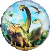 Шар (18''/46 см) Круг, Динозавры Юрского периода, 1 шт.