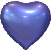 Шар (18''/46 см) Сердце, Фиолетовый, Сатин, 5 шт. в упак.