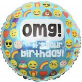 Шар (18''/46 см) Круг, Твой День Рождения! (смайлы), Голубой, 1 шт.