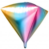 Шар 3D (24''/61 см) Алмаз, Нежная радуга, Градиент, 1 шт.