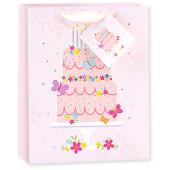 Пакет подарочный, Торт на День Рождения, Розовый, Голография, 23*18*10 см, 1 шт.