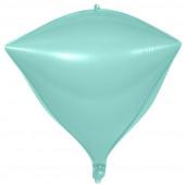 Шар 3D (20''/51 см) Алмаз, Макарунс, Светлая мята, 1 шт.