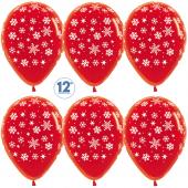 Шар (12''/30 см) Падающие снежинки, Красный (315), кристалл, 5 ст, 50 шт.