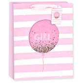Пакет подарочный, С Рождением Девочки! (золотое конфетти), Розовый, с блестками, 23*18*10 см, 1 шт.