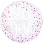 Шар (20''/51 см) Сфера 3D, Deco Bubble, С Рождением Девочки, Прозрачный, Кристалл, 1 шт.