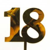 Топпер, Цифра, 18, Золото, Металлик, 10*15 см, 1 шт.
