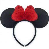 Ободок Мышка с плюшевым бантиком, Красный, 1 шт.