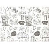 Упаковочная бумага, Крафт (0,7*10 м) С Днем Рождения! (медвежата), Белый, 1 шт.