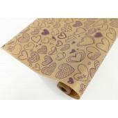Упаковочная бумага, Крафт (0,7*10 м) Сердечки фигурные, Фиолетовый, 1 шт.