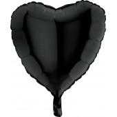 Шар (18''/46 см) Сердце, Черный, 1 шт.