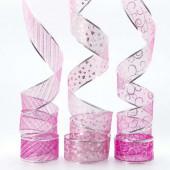 Лента декоративная (6 см*2,74 м) Ассорти дизайнов, Органза, Розовый, 1 шт.