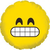 Шар (9''/23 см) Мини-круг, Смайл Эмоции (Зубастик), Желтый, 1 шт.