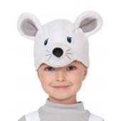 Карнавальная шапка Мышонок, Белый, 1 шт.