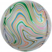 Шар (24''/61 см) Сфера 3D, Мраморная иллюзия, Разноцветный, Агат, 1 шт.