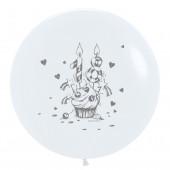 Шар (30''/76 см) С Днем Рождения! Сладкие 18 (капкейк), Белый (005), пастель, 2 ст, 1 шт.