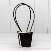 Пакет подарочный, Ваза для цветов, Черный/Белый, 12*12*8 см, 1 шт.