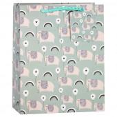 Пакет подарочный, Мечты с воздушным шариком (слоник и радуга), Мятный, 32*26*13 см, 1 шт.