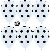 Шар (12''/30 см) Черные точки, Белый (005), пастель, 5 ст, 50 шт.