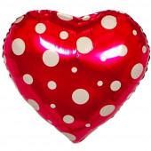 Шар (18''/46 см) Сердце, Белые точки, Розовый, 1 шт.