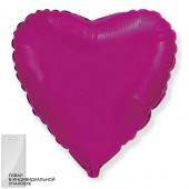 Шар (18''/46 см) Сердце, Фуше, 1 шт. в упак.