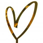 Топпер, Сердце, Вензель, Золото, Металлик, 10*18 см, 1 шт.
