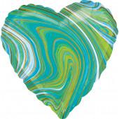 Шар (18''/46 см) Сердце, Мрамор, Золотая нить, Бирюзовый, Агат, 1 шт.