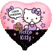 Шар (18''/46 см) Сердце, Hello Kitty, С Днем Рождения!, Розовый, 1 шт. в упак.