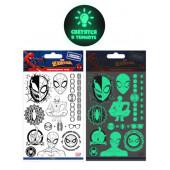 Наклейки-татуировки Человек Паук, набор №2, флюор, 11*20 см, 1 шт.
