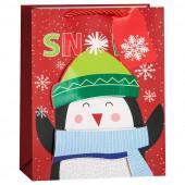Пакет подарочный, Счастливый пингвин, Красный, 23*18*10 см, 1 шт.