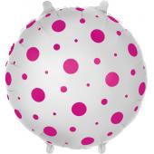 Шар (18''/46 см) Круг, Розовые точки, Белый, 1 шт.