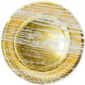Тарелки (9''/23 см) Структура дерева, Золото/Белый, 6 шт.