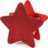 Декоративный ящик Звезда, Красный, с блестками, 25*12*24 см, 1 шт.
